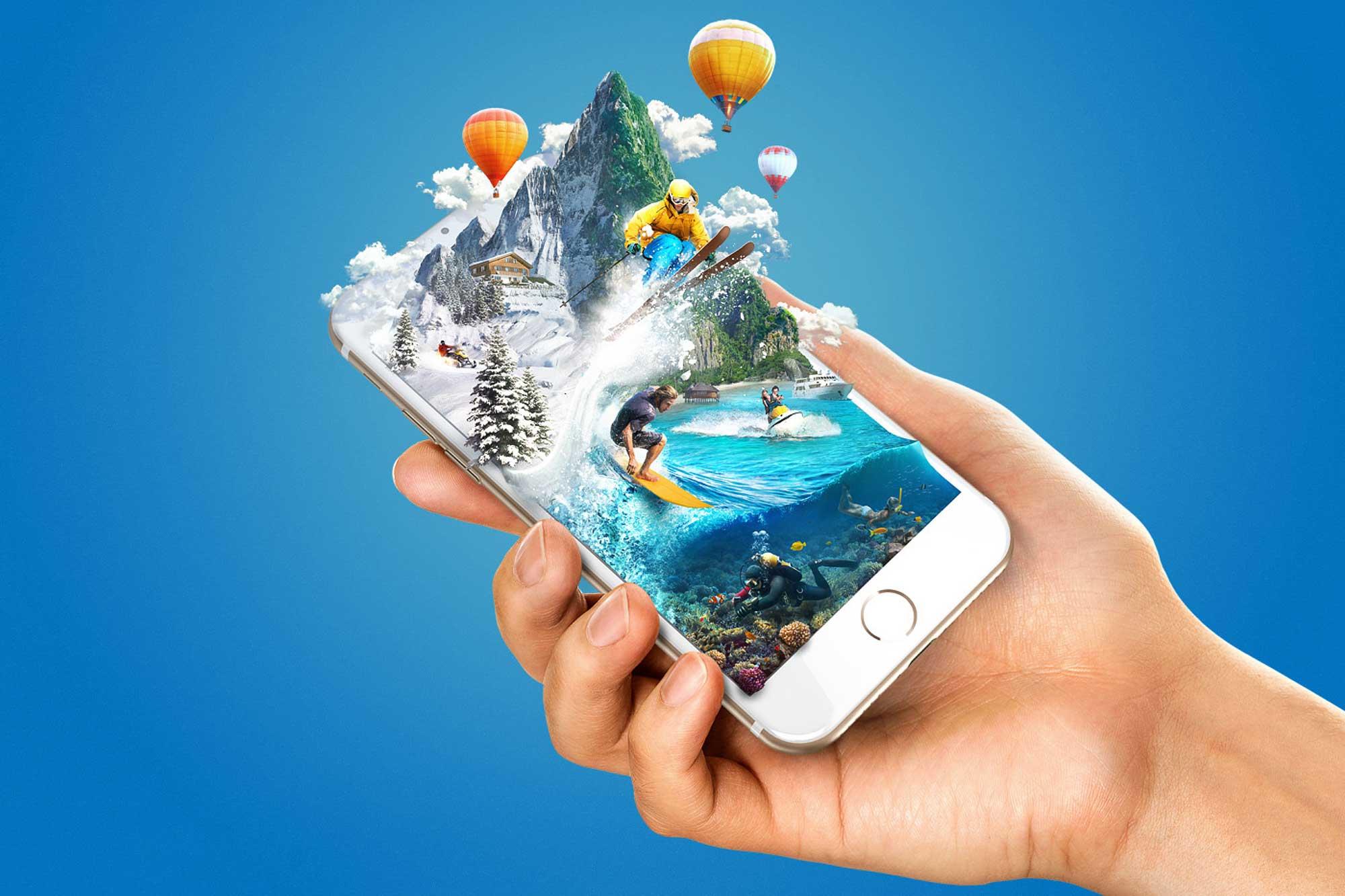 Infographie - surfer qui sort d'un smartphone