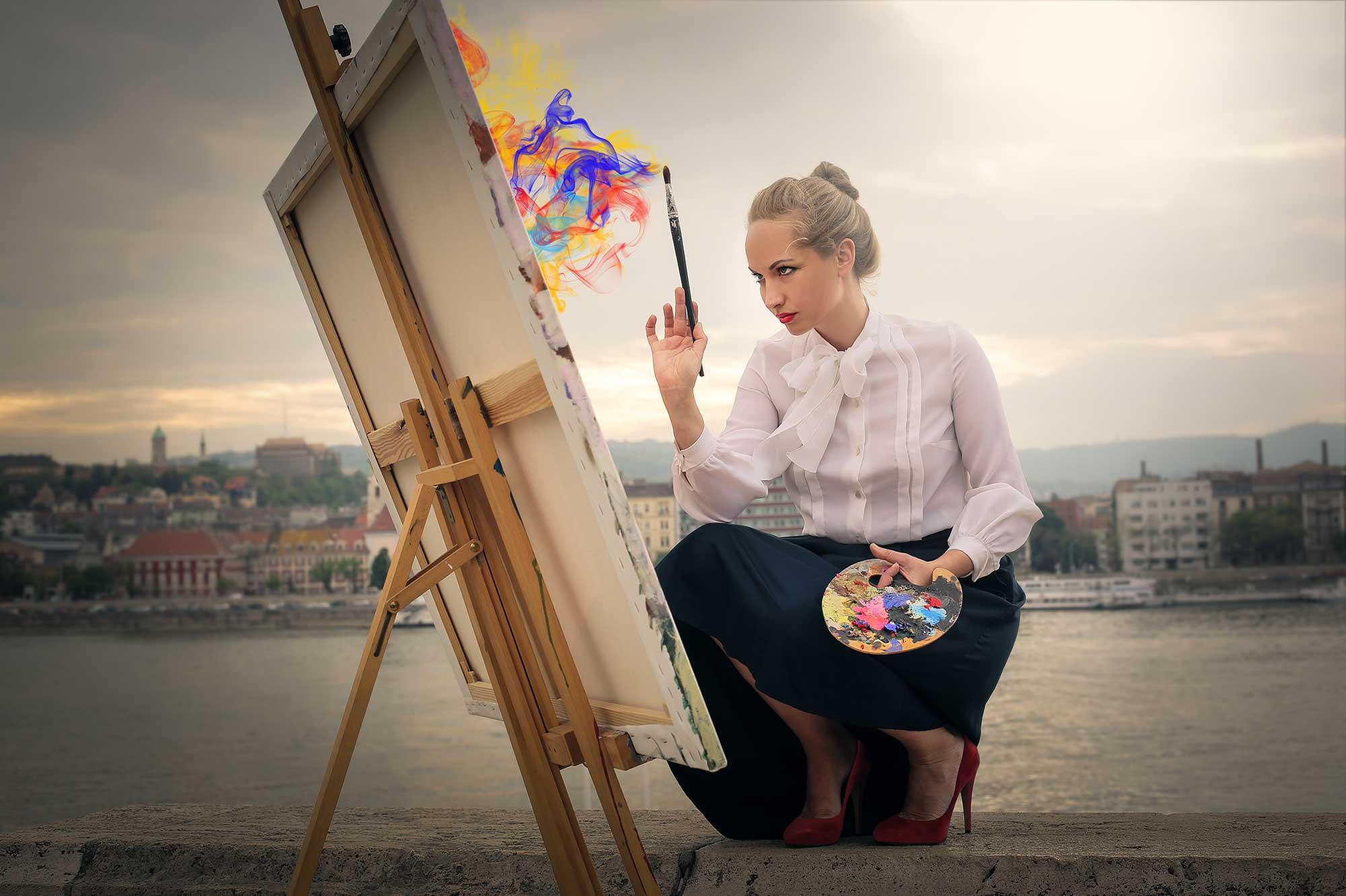 Infographie - une femme qui peint